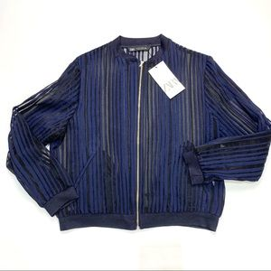 Zara Striped Bomber Jacket - Medium